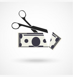 Scissors cut money vector