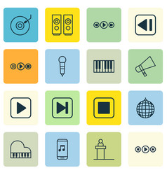 Set of 16 music icons includes rostrum sound box vector