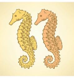 Sketch cute seahorse in vintage style vector image vector image