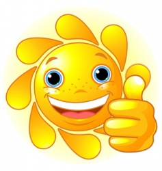 sun hand giving thumbs up vector image vector image