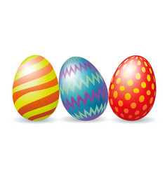 three colorful easter eggs vector image vector image