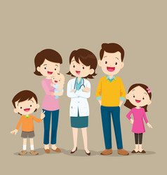 Woman doctor and cute family with baby vector