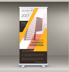 Yellow standee roll up banner design with your vector