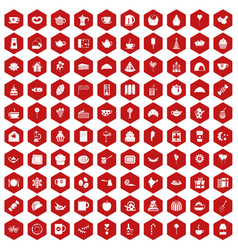 100 tea party icons hexagon red vector