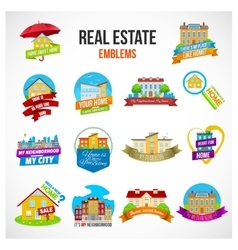 Real estate emblem set vector