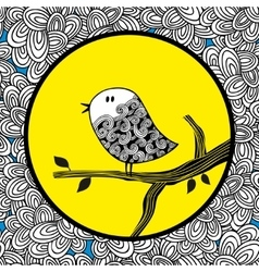 Doodle bird and the moon vector image