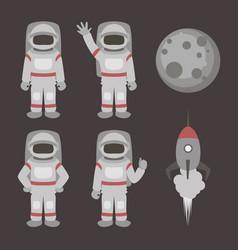 astronauts characters set vector image