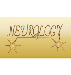 neurology golden emblem logo vector image