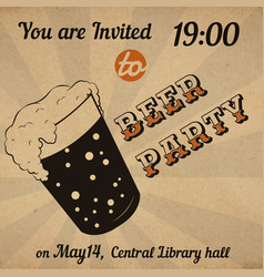 retro beer glass invitation card vector image