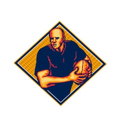 Rugby player running ball retro vector