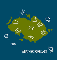 weather forecast map with flat pointers and icons vector image