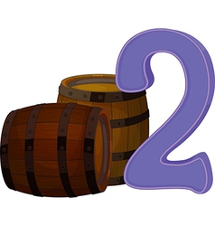 Two wooden barrels vector