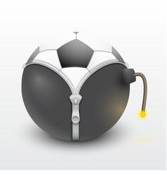 Soccer ball inside a burning bomb vector