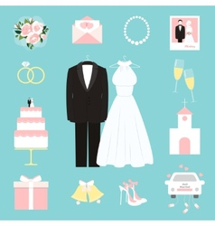 Suit and gown surrounded by wedding icons vector
