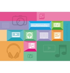 Multimedia icons of user interface elements vector