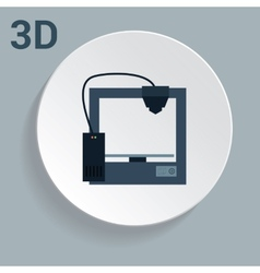 3d printer icon with simple design vector