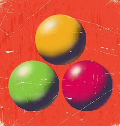 Scratched retro card with halftone balls vector image