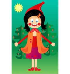 The girl with the red hat in the woods vector