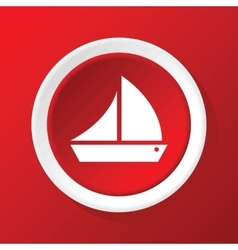 Sailing ship icon on red vector