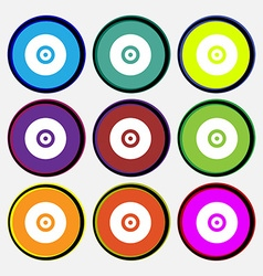 Cd or dvd icon sign nine multi-colored round vector