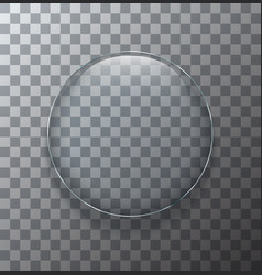 Modern transparent circle glass plate vector