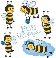 Cartoon bees set vector