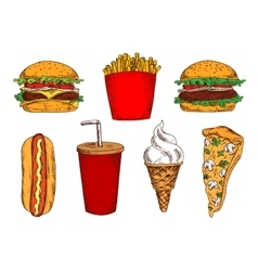 Sketched fast food lunch with soda and ice cream vector