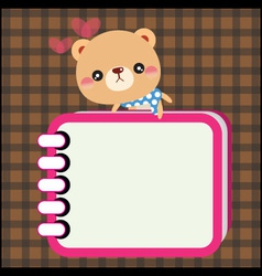 Bear with notebook vector