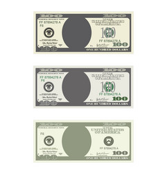 Bill one hundred dollars in three options vector