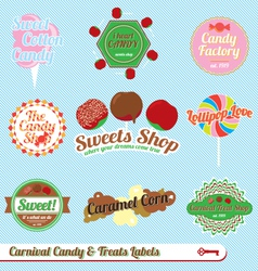 Carnaval treats and candy labels vector