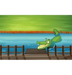 Cartoon River Crocodile vector image vector image