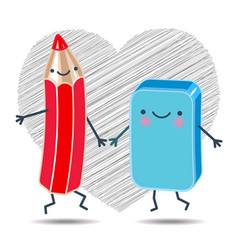 cheerful pencil and an eraser holding hands vector image