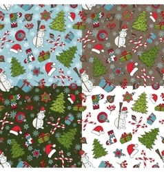 Christmas samless pattern setwinter doodles vector