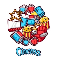 Cinema and 3d movie advertising background in vector