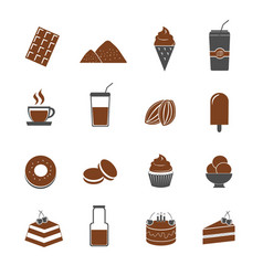 cocoa and chocolate icons set vector image vector image