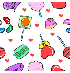 collection stock of sweet candy doodles vector image