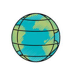 colored crayon silhouette of earth globe with vector image