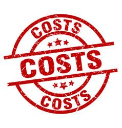 Costs round red grunge stamp vector