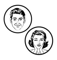 couple comic pop art image vector image