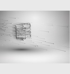 cube with connected lines and dots wireframe mesh vector image vector image