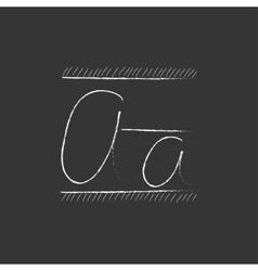 Cursive letter a drawn in chalk icon vector