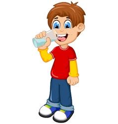 Cute boy cartoon drinking water vector