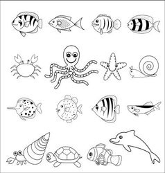 Cute marine icons vector