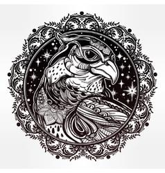 Detailed ornate mandala bird of prey head vector image