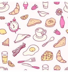 Doodle breakfast seamless pattern vector