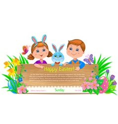 Easter holiday kids banner vector