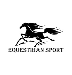 Horse racing symbol with running wild mustang vector
