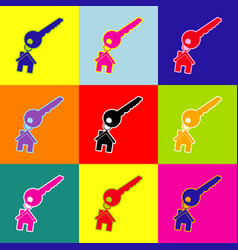 Key with keychain as an house sign pop vector