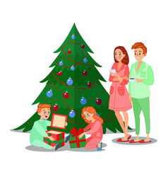 Kids opens christmas gifts happy family vector