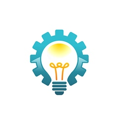 Light bulb gear work idea logo vector